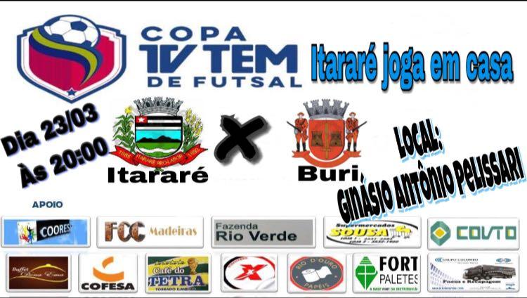 Com o apoio da torcida, Itararé (SP) joga em casa nesta sexta-feira (23) pela Copa TV TEM de Futsal