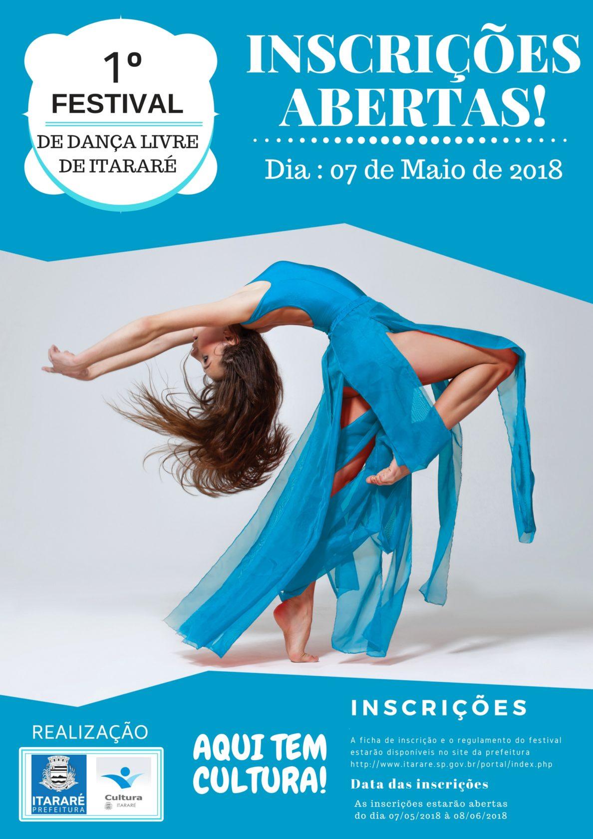 Abertas as inscrições para 1º Festival de Dança Livre de Itararé (SP)