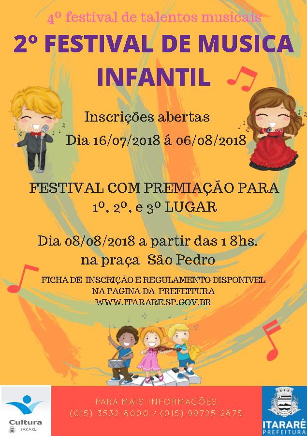 Seguem abertas as inscrições para 2º Festival de Música Infantil em Itararé (SP)