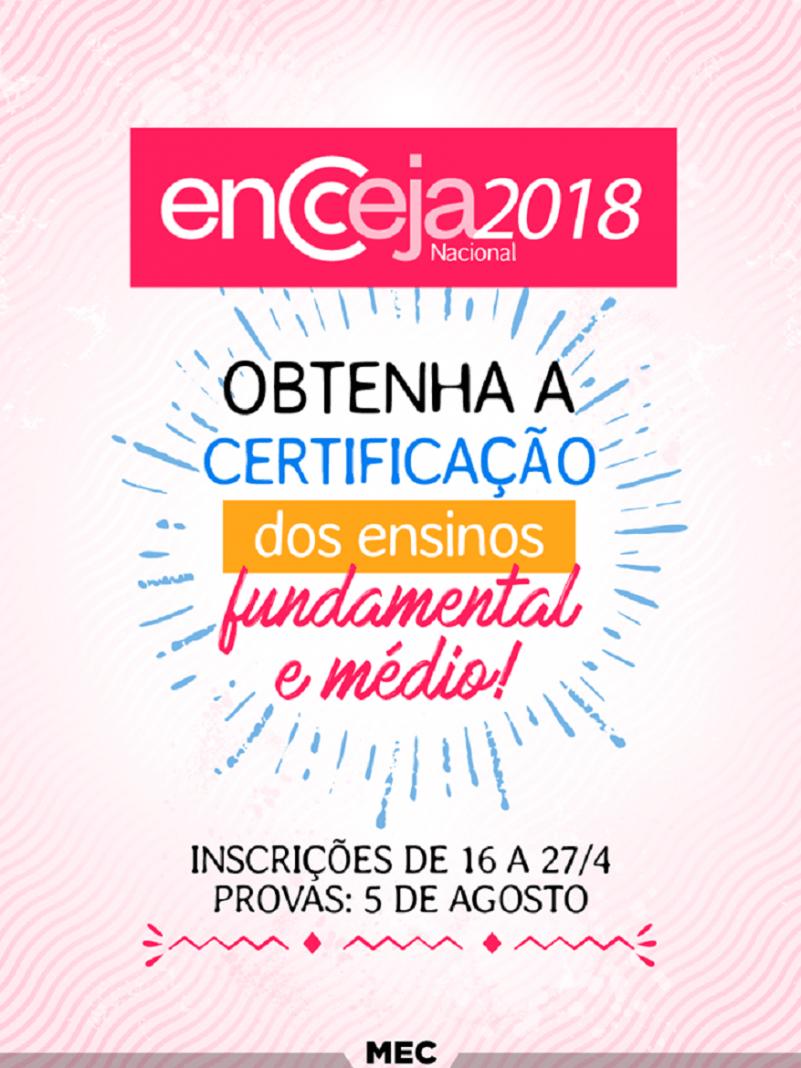 Abertas as inscrições para o Encceja 2018