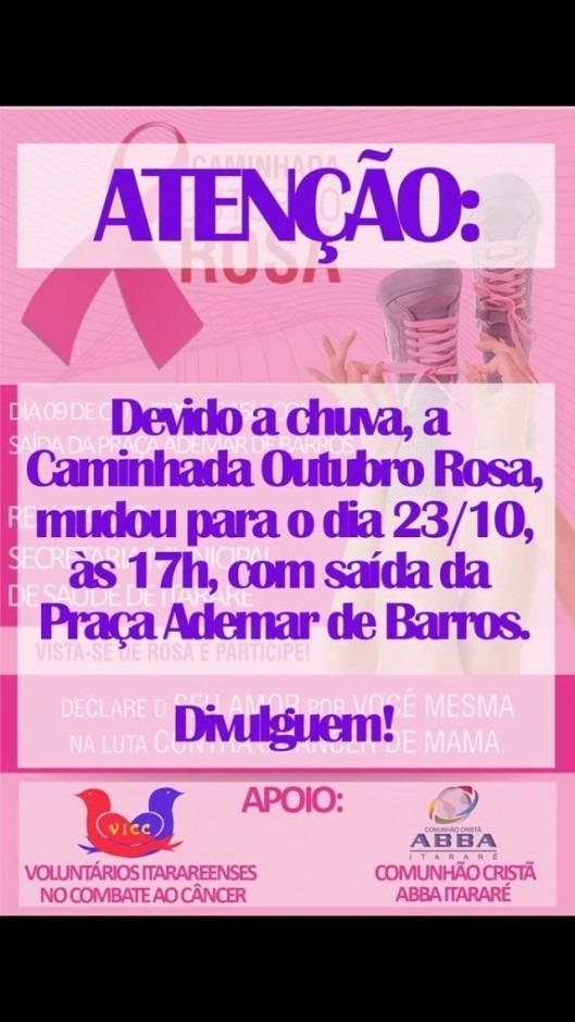 Caminhada Outubro Rosa mudou para o dia 23/10