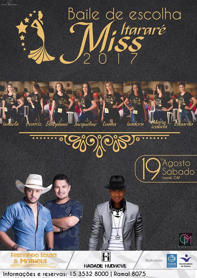 Convites para o Miss Itararé 2017 já estão a venda