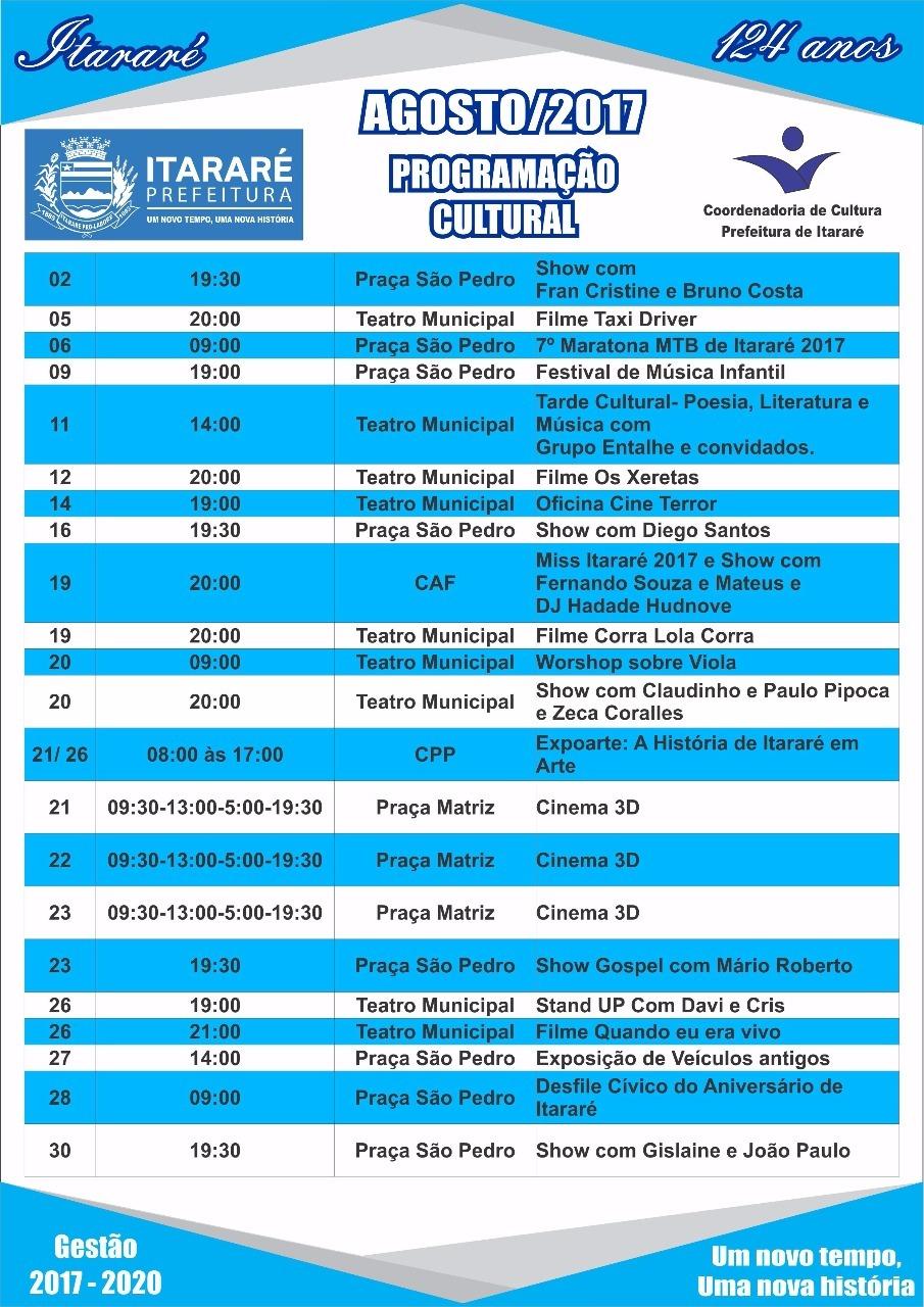 Prefeitura de Itararé divulga programação cultural para o aniversário da cidade