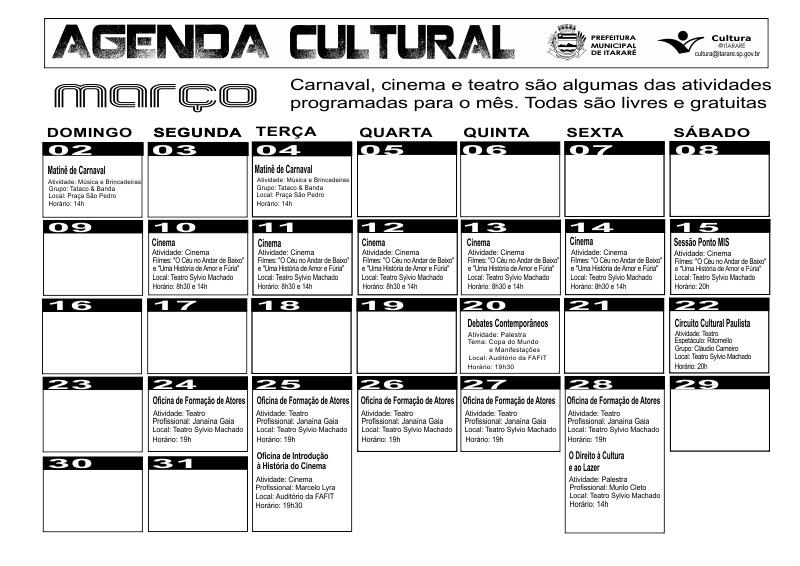 Confira o calendário cultural de março!
