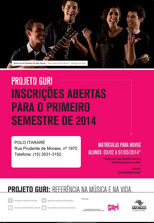 Projeto Guri abre vagas para o primeiro semestre de 2014 em Itararé