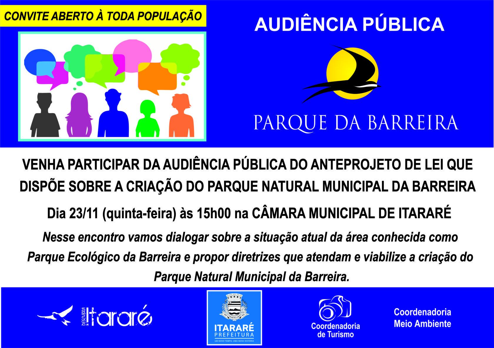 Turismo de Itararé (SP) convida população para audiência pública