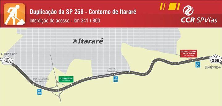 Interdição do acesso de Itararé (km 341,8 da Rodovia  Francisco Alves Negrão – SP 258)