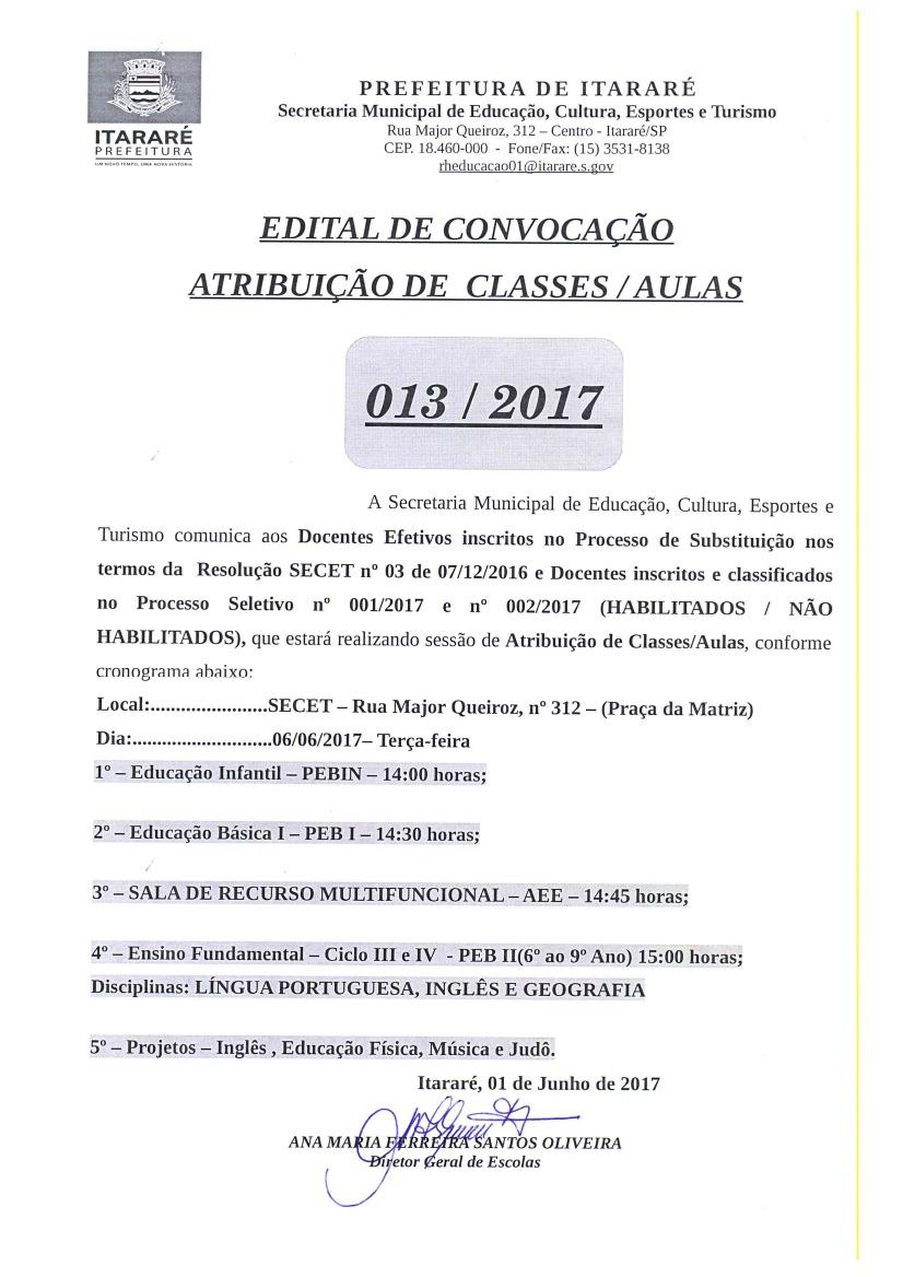 Atribuição Classes / Aulas  013/2017