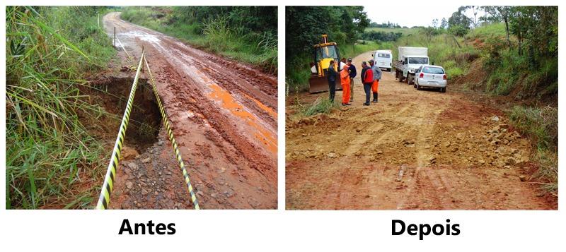 Secretaria de Serviços Gerais conserta estragos feitos pelas chuvas na Estrada da Cachoeira