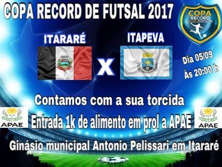 Itararé (SP) estreia hoje na Copa TV Record de Futsal