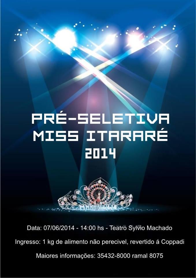Sábado tem pré-seleção para o Miss Itararé 2014
