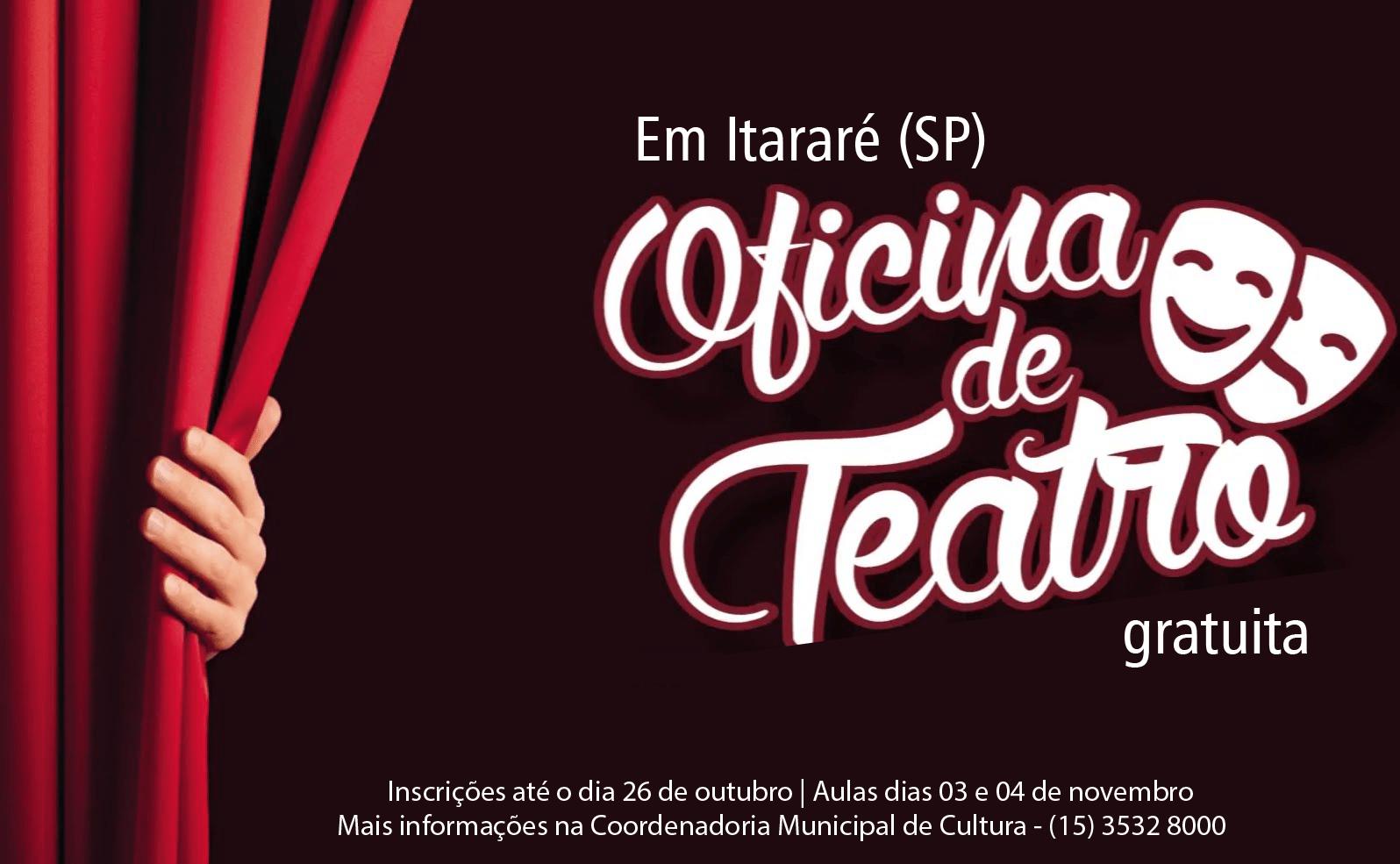 Seguem abertas inscrições para Oficina de Teatro em Itararé (SP)