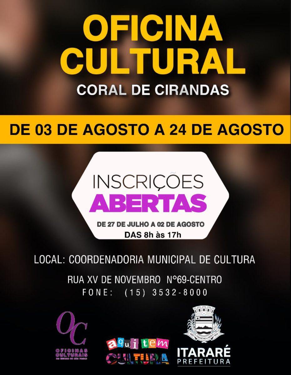 Cultura de Itararé (SP) abre inscrições para Oficina Coral de Cirandas