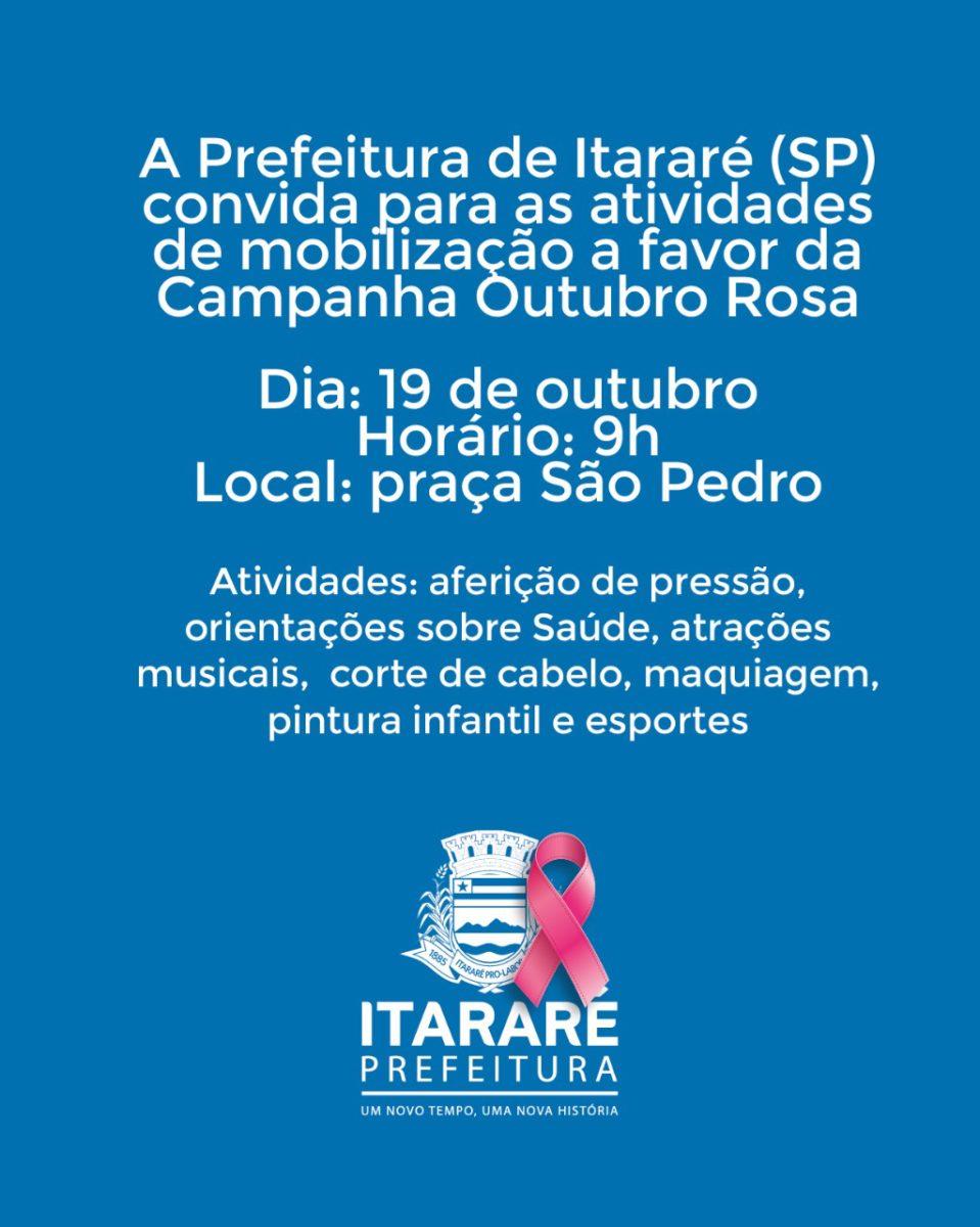Outubro Rosa: Prefeitura de Itararé (SP) promove evento de conscientização neste sábado (19)