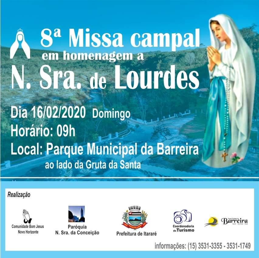 8ª Missa Campal em homenagem a Nossa Senhora de Lourdes acontece no Parque da Barreira em Itararé (SP)