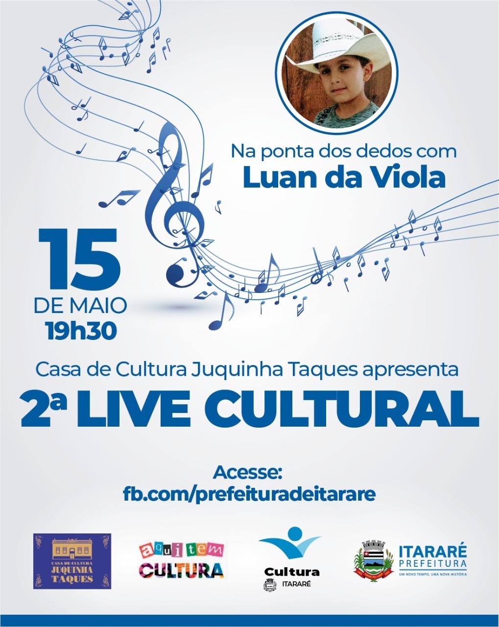 Luan da Viola será a próxima atração da Live Cultural da Prefeitura de Itararé (SP)